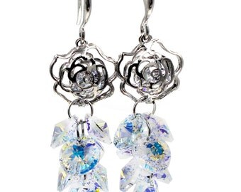 Fashion rose qualities crystal earrings