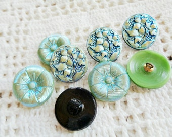 8 Modern Czech art glass buttons, lustered glass floral mix FREE SHIPPING
