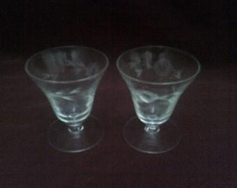 2 of Short Stemmed Etched Glasses
