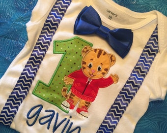Personalized Daniel Tiger Happy Birthday age embroidered name birthday shirt boy / girl / bsby applique birthday shirt sizes 6 month - 7/8