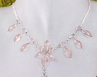 25% Off Sale Rose Quartz Necklace, Handmade Necklace, Fine Silver Necklace, Silver Necklace, Pink Bib Necklace, Designer Necklace, Unique Bi