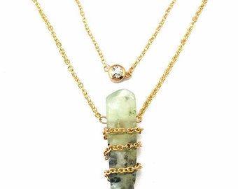 Stone necklace, Double Layer necklace, Diamond Double Layer Necklace, Layering necklace