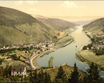 24x36 Poster . Alf And Bullay, Moselle, Valley Of, Germany 1890 Photochrom