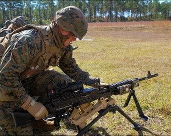 24x36 Poster . Marine With M240B Machine Gun Camp Lejeune
