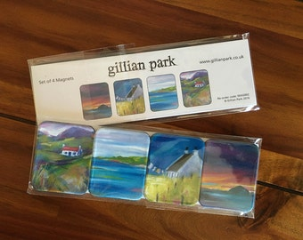 Pack of 4 Magnets - Bright Scottish Landscape paintings