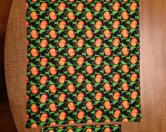 Halloween placemat with matching napkin, holiday, pumpkin, orange