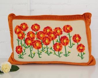 vintage orange velvet flowered cushion