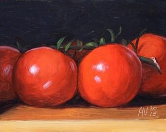 Tomatoes on the vine Painting, Kitchen Art by Aleksey Vaynshteyn