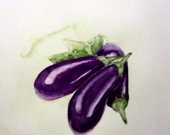 Just Add Parmasan, original watercolor of eggplants, 8x10 inches
