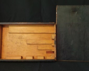 CLEARANCE Vintage Oddities Little Black Box Of Treasure Secret Hiding Place Painted Game Silverware Box