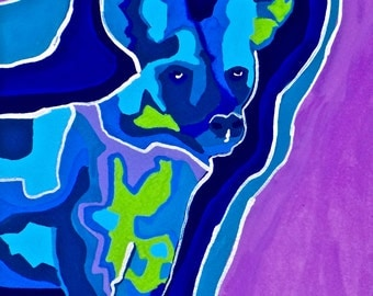 African Wild Dog Gouache Painting,  Modern African Wild Dog Gouache Painting, Multicolor African Wild Dog Painting