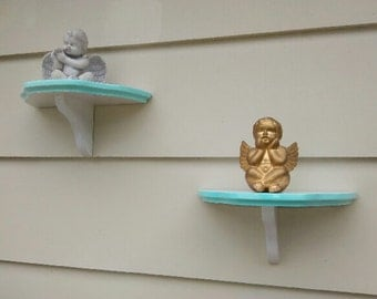 Wall Shelves Pair/Wall Shelves Pair in White/Shelves Light Blue Trim/Wall Candle Holders