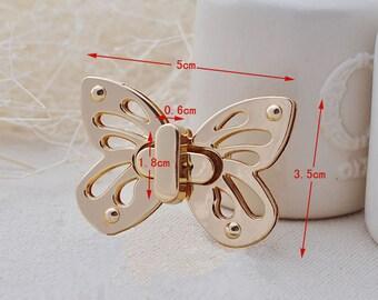 1 Pcs Golden Butterfly Twist-Lock Crossbody Bag Purse Belt Twist Catch Lock Closure Clutch Clock Metal Craft Case Clasp Turn Lock Fastener