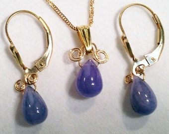 Tanzanite Necklace set, Boho Jewelry, Natural Tanzanite pale blue gemstone, Necklace & Earrings Tanzanite, 14k Gold Fill,  Tanzanite Jewelry