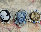 DIY Buttons, Three Cameo Buttons New, Unused, Butterfly, Lady Silhouette, Flower Designs  #328