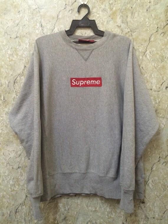 vintage 90s supreme box logo hoodie grey size l hip hop