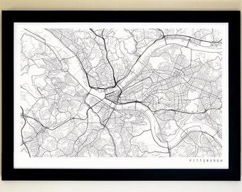 PITTSBURGH Map Art Print, Giclée Print, Pittsburgh Wall Art / Coloring Map