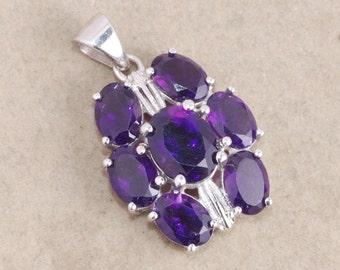 African amethyst 925 sterling silver pendant jewelry - February birthstone necklace - Amethyst oval pendant - Purple gemstone pendant gift