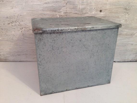 large vintage milk box galvanized metal dairy box cooler. Black Bedroom Furniture Sets. Home Design Ideas