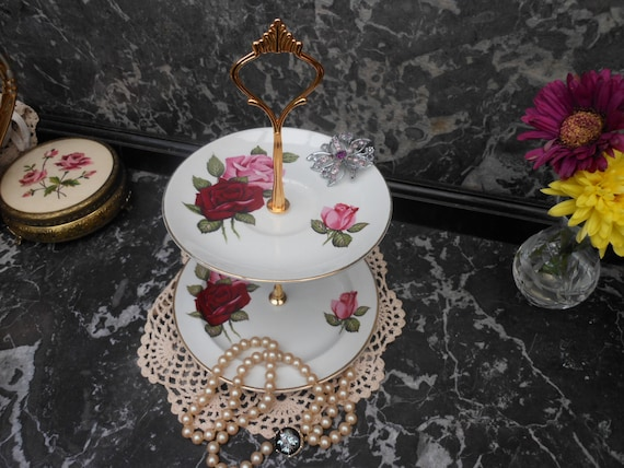 SALE 20% Off.....VINTAGE Mini JEWELLERY or Sweets Stand - Card Holder - by Old Foley, English bone china, Pink and Red roses - China plates