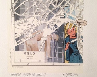 City Map - Oslo - Paper Cut - Collage - Hand Made