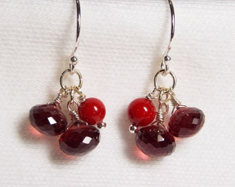 RED GARNET CORAL earrings delicate gem stone berries sterling silver faceted onion  briolette