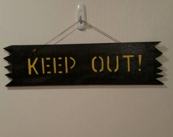 Keep Out Wooden Sign. Free Shipping.