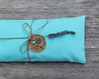 Lavender Eye Pillow • Large • Turquoise • Relaxation • Yoga •  Eye Cover • Meditation • Organic Body Care