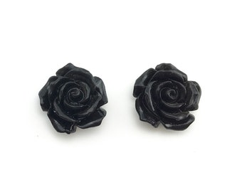 Rose carved earrings - Semi Precious stone, Black onyx stone, Black bead agate, flower earring, rose flower stone, natural stone, black onyx