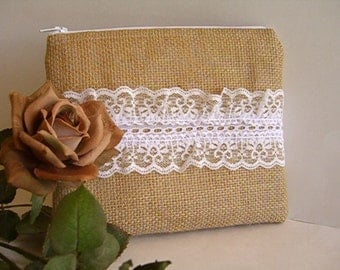 Burlap And Lace Clutch - Burlap Makeup Bag - Burlap Clutch - Bridesmaid Gift - Wedding Clutch - Makeup Bag - Rustic Clutch - Bridal Gift
