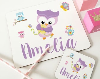 Personalised Owl Wooden Glossy Placemat & Coaster Set gifts for children FREE POSTAGE