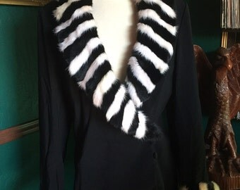 Vintage Black and white Zebra Jacket/Coat/fur Collar/Size12/Large