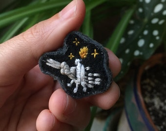 Hand Stitched Skeleton Candle Lapel Pin