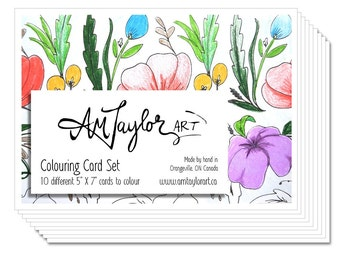 Flower Coloring Cards, Adult coloring pages, Note card set