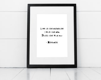 Live In The Sunshine Print, Digital Print, Emerson Quote, Emerson Print, Sunshine Quote
