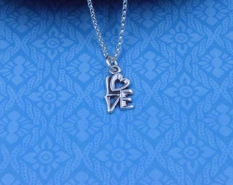 Love Charm Necklace ~ Sterling Silver Love Charm Necklace