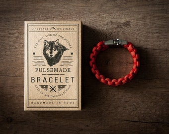 Men's bracelet-red unisex woman in Paracord 550-Pulsemade Classic Collection-Handmade paracord mens bracelet-Womens Red