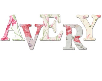 Shabby chic nursery letters, girl nursery letters, wooden nursery letters, gray, pink, floral