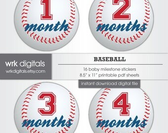 Baseball Monthly Baby Stickers, INSTANT DOWNLOAD Monthly Stickers, Printable Baby Milestone Stickers, Baby Boy