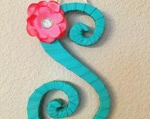Spring Wreath Initial, Front Door Decor, Hawaiian Decor, Hawaiian Baby Gift, Decorative Letter, Decorative Letter H, Teal Decor, Gift Ideas