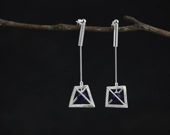 Geometric Triangle Pyramid Earrings Metallic Dangle Earrings 2in1 Handmade Jewelry Gift for her