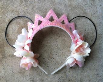 Light Pink Flower Crown Mickey Ears