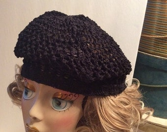50% Off Sale Vintage Black Knitted Crochet Beanie Hat