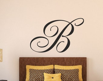 Initial Wall Decal Single Letter Monogram Decal Cornhole Board - Monogram wall decals letters