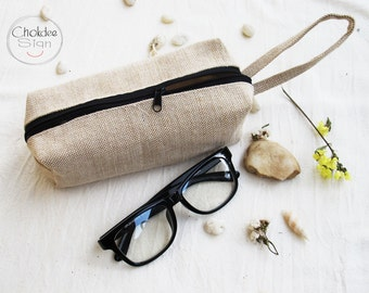 White burlap Pencil Case, Zipper Pouch, Small Cosmetic Bag with cotton lining.
