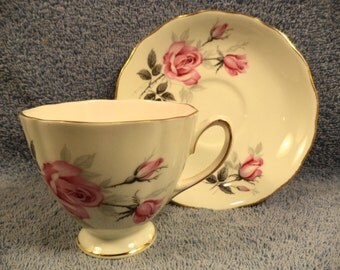 Floral Pink Rose Cup And Saucer With Gold Trim Bone China England