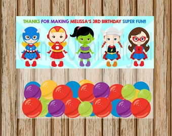 "PERSONALIZED- Girls Superhero Treat Bag Toppers- Super Hero Treat Bag Toppers - Birthday Treat Bag Toppers- 5"" x 6.5"" size- Digital Image"