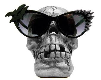VENGEANCE sunglasses, spike cateye sun glasses, black cat eye glasses, bats, pinup, metal, punk rock, Halloween, goth, Elvira, rockabilly