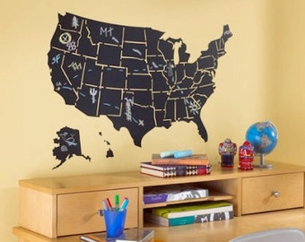 USA Map Divided by State Chalk Classroom Vinyl Wall Decals, Removable Wall Art