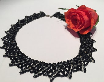 Beaded Lace Necklace, Seed Bead Necklace, Collar Necklace, Statement Necklace, Black Elegant Necklace, Beaded Collar, Seed Beads Jewelry